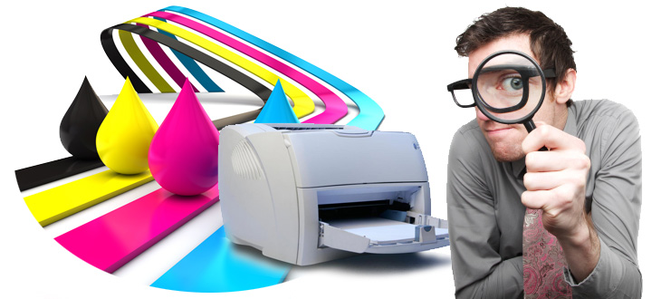 man with inkjet printer