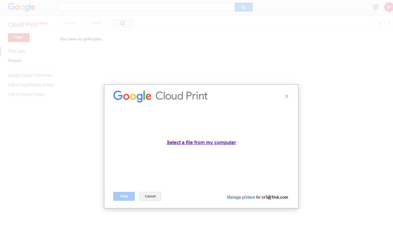 Startup screen to print documents using Google Cloud Print for HP Printers