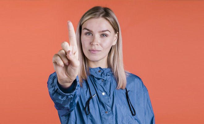 Lady showing stop gesture